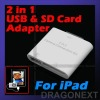 2 in 1 USB SD MMC Card Reader Camera Connection Adapter For Apple iPad