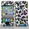 2D COLORFUL LEOPARD Protector Hard Snap On Cover Case for APPLE PHONE 4 4S