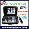 """3.2"""" touch screen wifi tv mobiel phone t2000 with qwerty keyboard holster"""