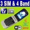 3 SIM Triple 3 Standby TV Java WIFI Flip phone Unlock