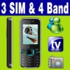 3 SIM Triple 3 Standby TV Unlocked Mobile phone MSN