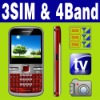 3 SIM Triple 3 standby MP3 MP4 TV  cellphone Unlocked