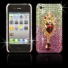 3D Crystal Water Drop on Silver and Pink Gems Bling Plastic Case For 4g of Apple Iphone