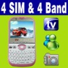4 SIM Four 4 Standby MSN TV Mobile phone Unlocked