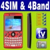 4 SIM & Four standby MP3 MP4 TV Mobile phone Unlocked