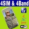 4 SIM & Four standby Wifi Java TV Unlocked mobilephone
