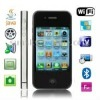 4S Black, Analog TV (PAL/NTSC), Wifi JAVA Bluetooth FM function Touch Screen Mobile Phone, Dual Sim cards Dual standby Dual came