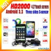 Android2.3 Cell Phone HD2000 with 8MP Dual Camera