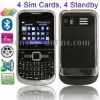 E82, 4 Sim cards 4 standby,Facebook & Yahoo & Google & eBuddy & Bluetooth & FM function Mobile Phone, Dual band, Network: GSM900
