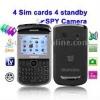 E9650B Black + DVR Camera, 4 Sim cards, 4 standby, Analog TV (SECAM/PAL/NTSC), JAVA FM function Mobile Phone, Quad band, Network