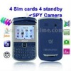E9650B Dark Blue + DVR Camera, 4 Sim cards, 4 standby, Analog TV (SECAM/PAL/NTSC), JAVA FM function Mobile Phone, Quad band, Net