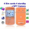 E9650B Orange + DVR Camera, 4 Sim cards, 4 standby, Analog TV (SECAM/PAL/NTSC), JAVA FM function Mobile Phone, Quad band, Networ