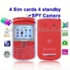 E9650B Red + DVR Camera, 4 Sim cards, 4 standby, Analog TV (SECAM/PAL/NTSC), JAVA FM function Mobile Phone, Quad band, Network: