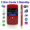 F158 Red, 3 Sim cards 3 standby, Big Speaker, QWERTY Keyboard, Analog TV (PAL/NTSC), Wifi JAVA Bluetooth FM function Mobile Phon