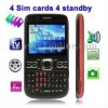F52 Black, 4 Sim cards 4 standby, Analog TV (PAL/NTSC), Bluetooth FM function Mobile Phone, Quad band, Network: GSM850/ 900 / 18