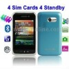 F912, 4 Sim cards 4 standby, ISDB-T for Japan / South America, Analog TV (SECAM/PAL/NTSC) & Bluetooth FM function Mobile Phone,