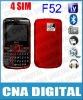 GSM Quad band F52 low price 4 SIM TV phone,Wholesale