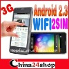 MTK 6573 unlocked phone B63M Dual SIM phone 4.1 '' 3G WCDMA Capacitive Android 2.3 WiFi GPS android Phone free shipping