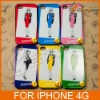 New arrival Madame FIGARO Pattern Aluminum+Plastic Back Case For iphone 4 4s &LF-0374
