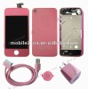 Pink Screen+Housing+Chassis+Charger+Cable for Iphone 4G