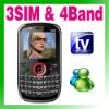 QWERTY Triple Sim Triple Standby 3 Sim TV Cell Mobile Phone Unlock
