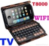 "T8000 2.8"" Touch Screen Quad band dual sim card TV Wifi cell phone with qwerty keyboard"