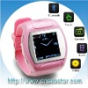watch cell phone,GSM wrist mobile phone,1.5 touch screen, mp3,mp4,fm radio,bluetooth,Java (Q007)