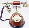 wooden retro telephone